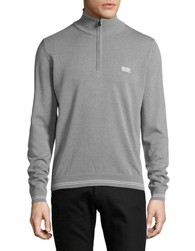 Boss Green Zime Mock Neck Pullover-GREY-Large