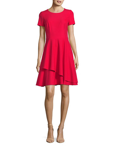 Hugo Kayna Ruffled Fit-and-Flare Dress-RED-EUR 42/US 10