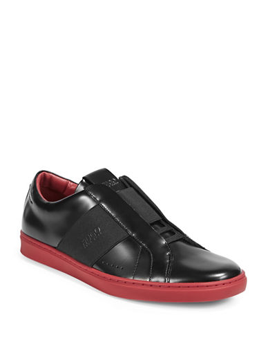 Hugo Gore Strap Leather Sneakers-BLACK-13