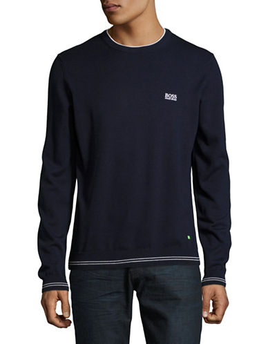 Boss Green Rime Crew Neck Pullover-NAVY-Small