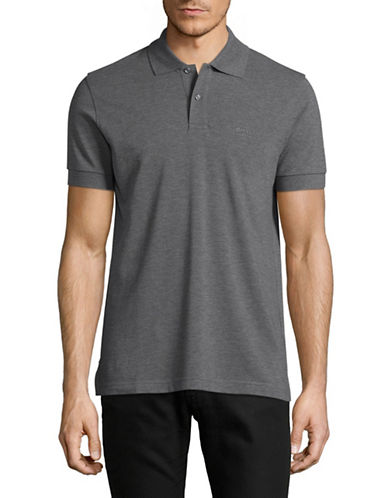 Boss Green Pique Polo-MEDIUM GREY-Medium