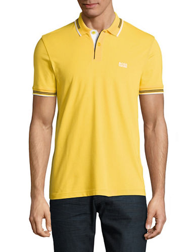 Boss Green Paul Stretch Slim-Fit Polo-YELLOW-Medium