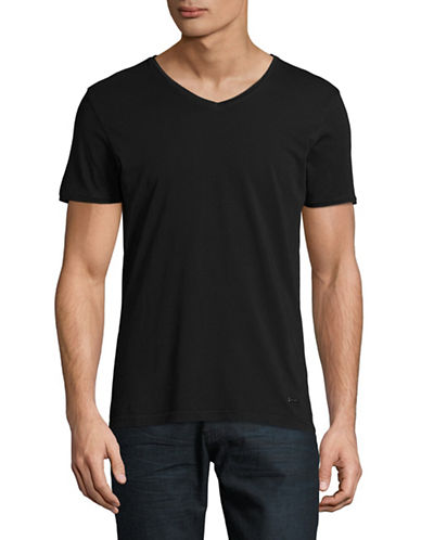 Boss Orange V-Neck T-Shirt-BLACK-Medium
