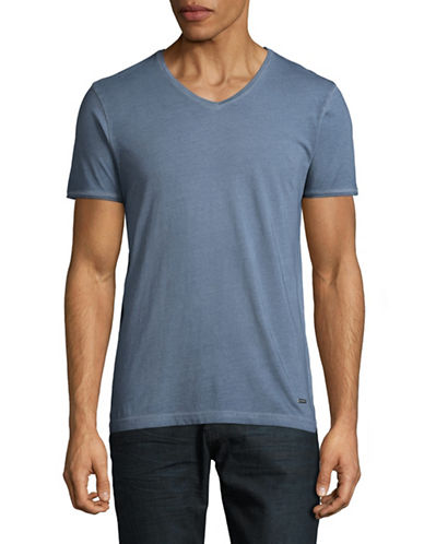 Boss Orange V-Neck T-Shirt-NAVY-Large