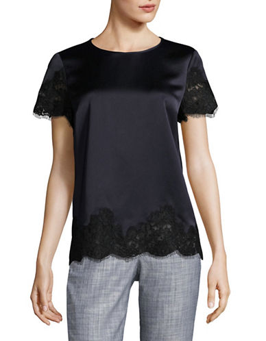 Hugo Satin Lace Blouse-DARK BLUE-EUR 42/US 10