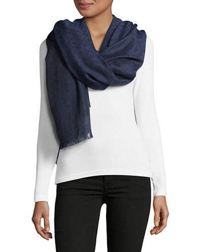 Hugo Women-Z Monogram Scarf-DARK BLUE-One Size