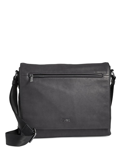 Hugo Messenger Flap Bag-BLACK-One Size