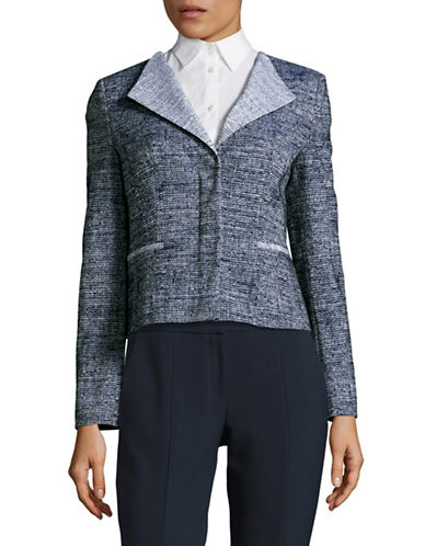 Hugo Techno Tweed Cropped Jacket-BLUE-EUR 40/US 8