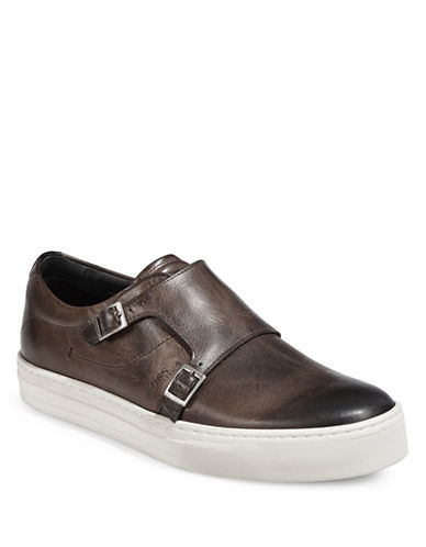 Boss Orange Leather Double Buckle Sneakers-MEDIUM BROWN-11