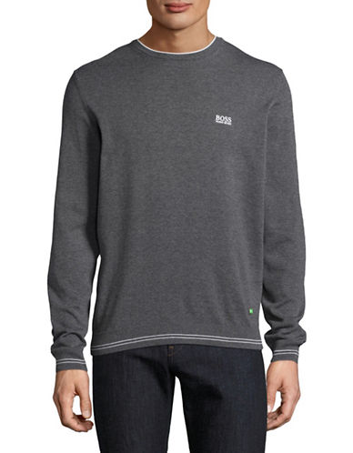 Boss Green Rime Crew Neck Logo Sweater-GREY-Small