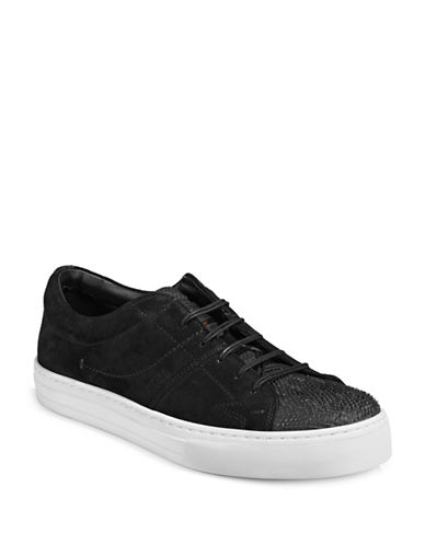 Boss Orange Noir Suede Tennis Sneakers-BLACK-11