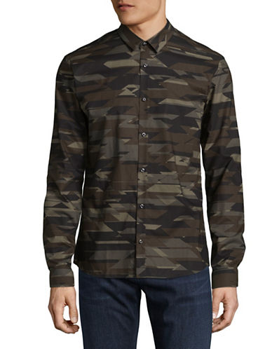 Hugo Ero3 Camo Shirt-GREEN-Large