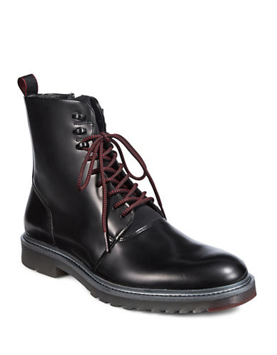 Hugo Pure Halb Leather Combat Boots-BLACK-8