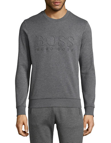 Boss Green Salbo Ribbed Logo Sweatshirt-GREY-Small 89307111_GREY_Small