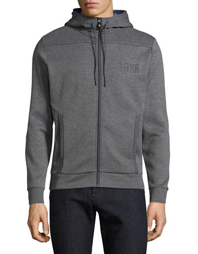 Boss Green Saggy Full-Zip Hoodie-GREY-Large