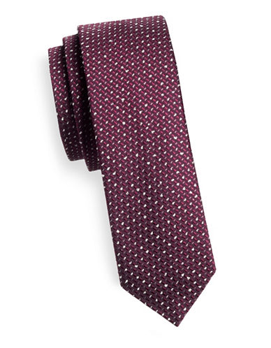 Hugo Slim Speckled Silk-Blend Tie-PINK-One Size