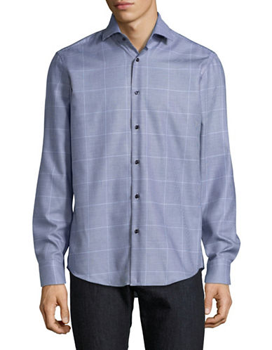 Hugo Mixed Check Shirt-BLUE-EU 43/US 17
