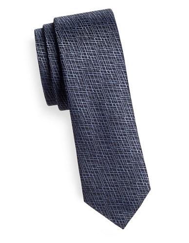 Hugo Slim Crosshatch Silk Tie-NAVY-One Size