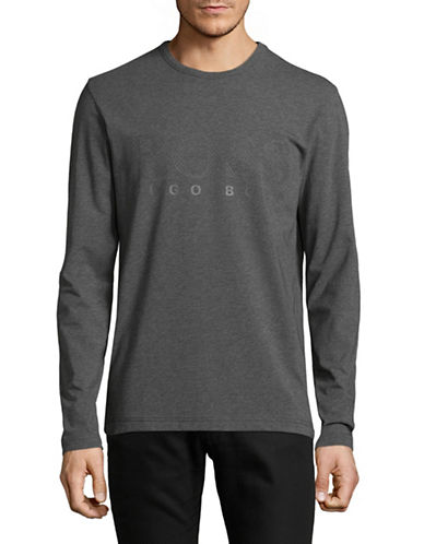 Boss Green Long Sleeve Logo T-Shirt-GREY-Medium