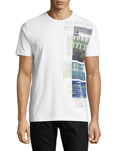 Boss Green Regular Fit Splash Logo T-Shirt-WHITE-Small