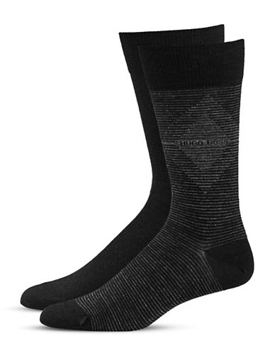 Boss Two-Pack Wool-Blend Socks-BLACK-7-12