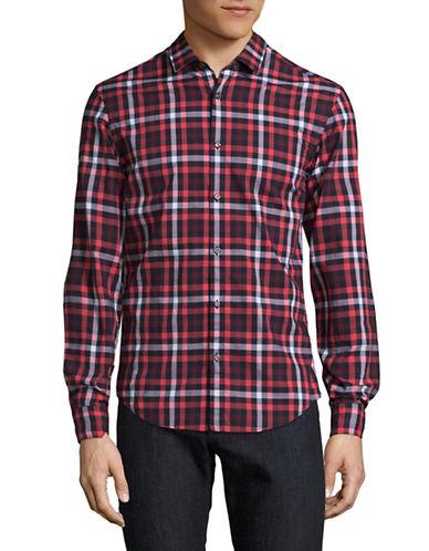 Boss Green C-Bersh Slim-Fit Plaid Shirt-PINK-Large