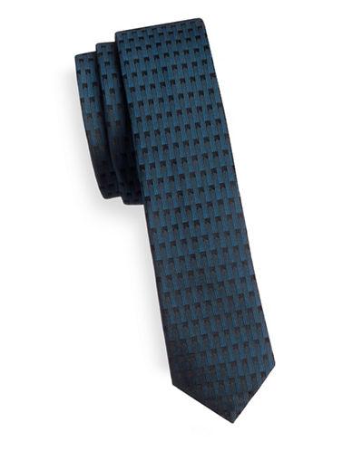 Hugo Skinny Patterned Silk Tie-BLUE-One Size