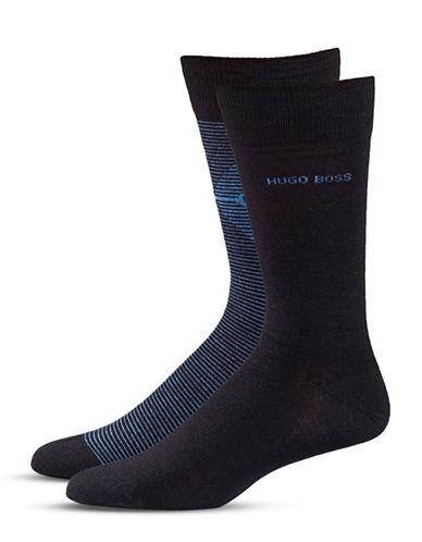 Boss Two-Pack Wool-Blend Socks-DARK BLUE-7-12