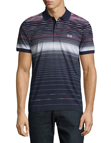 Boss Green Striped Cotton Polo-BLUE-Large