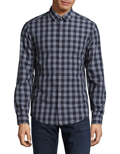 Boss Green C-Bersh Slim Fit Long Sleeve Check Shirt-NAVY-Medium