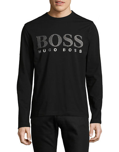 Boss Green Long Sleeve Logo T-Shirt-BLACK-Medium
