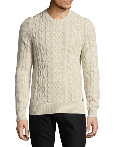 Boss Orange Wool-Blend Cable Knit Sweater-WHITE-Small