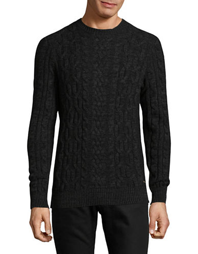 Boss Orange Marled Cable Knit Sweater-BLACK-X-Large