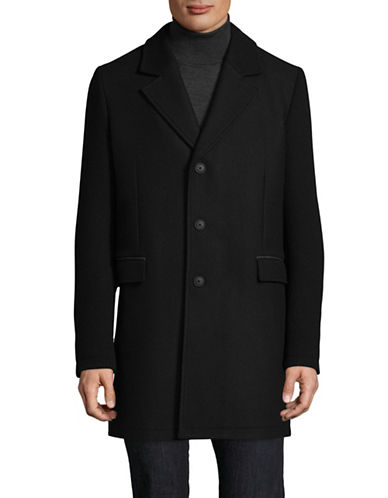 Boss Orange Balley Textured Wool-Blend Overcoat-BLACK-36