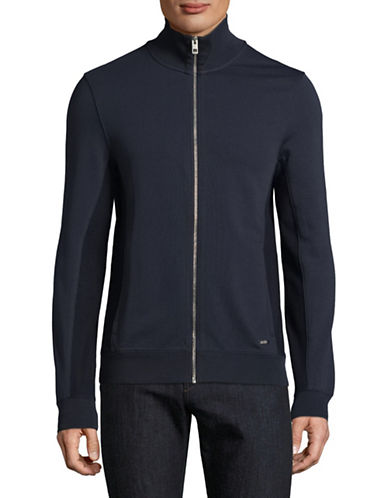 Boss Orange Stand Collar Zip Sweater-DARK BLUE-Small