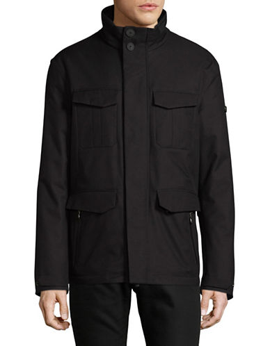Boss Green Jollo Stand Collar Coat-BLACK-42