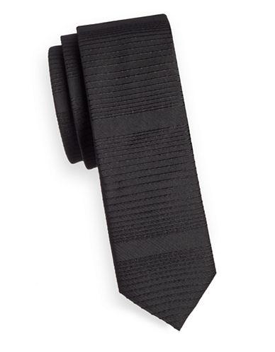 Hugo Striped Silk-Blend Tie-BLACK-One Size