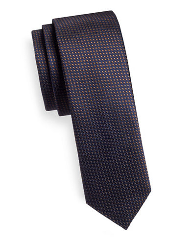 Hugo Slim Square Dot Silk Tie-BROWN-One Size