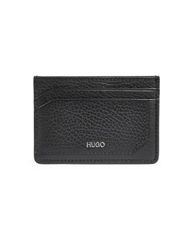 Hugo Leather Card Wallet-BLACK-One Size