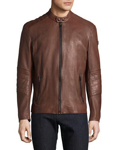 Boss Orange Jeeper Leather Jacket-BROWN-40