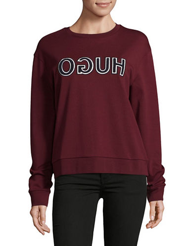 Hugo Logo Cotton Sweatshirt-RED-Medium