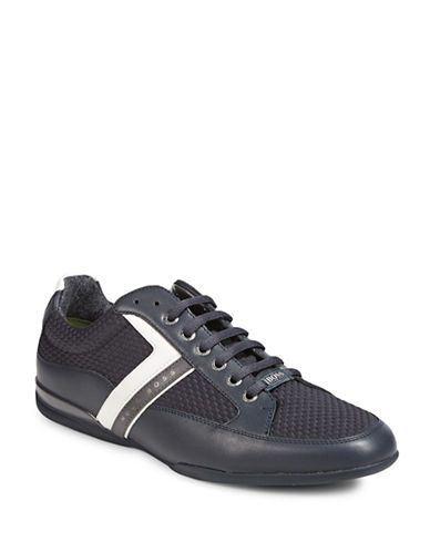 Boss Green Mens Leather-Mesh Training Shoes-DARK BLUE-9
