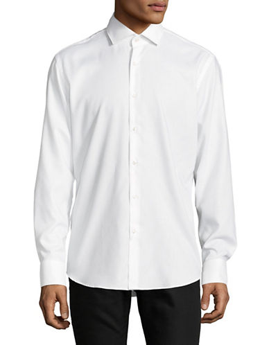 Hugo Cotton Long Sleeve Sportshirt-WHITE-EU 44/US 17.5