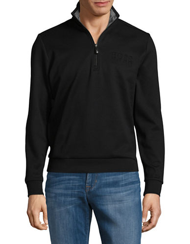 Boss Green Quarter Zip Heathered Cotton Sweater-BLACK-X-Large