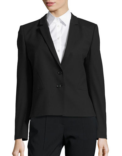 Hugo Tailored Wool-Blend Crepe Jacket-BLACK-EUR 38/US 6