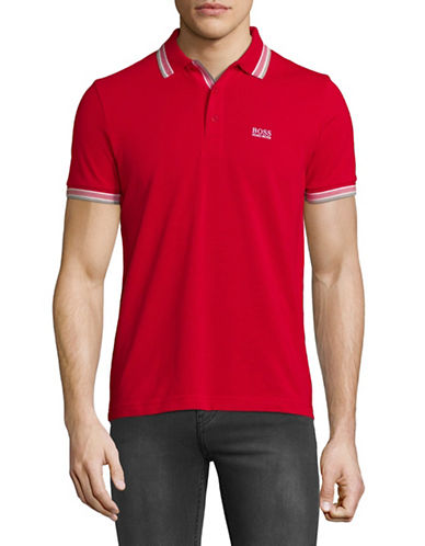 Boss Green Paddy Cotton Polo-RED-Large