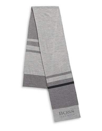 Boss Green Colourblocked Wool-Blend Scarf-GREY-One Size
