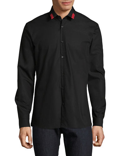 Hugo Colour-Block Collar Shirt-BLACK-EU 39/US 15.5