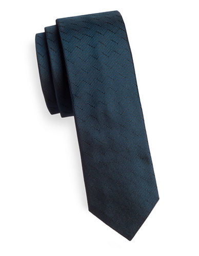 Hugo Slim Zigzag Silk Tie-BLUE-One Size