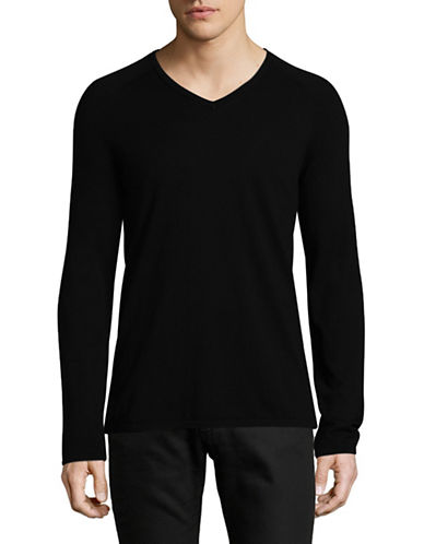 Hugo V-Neck Sweater-BLACK-Medium